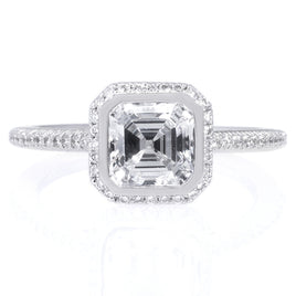 18K White Gold Asscher Cut Bezel Set Diamond Engagement Ring