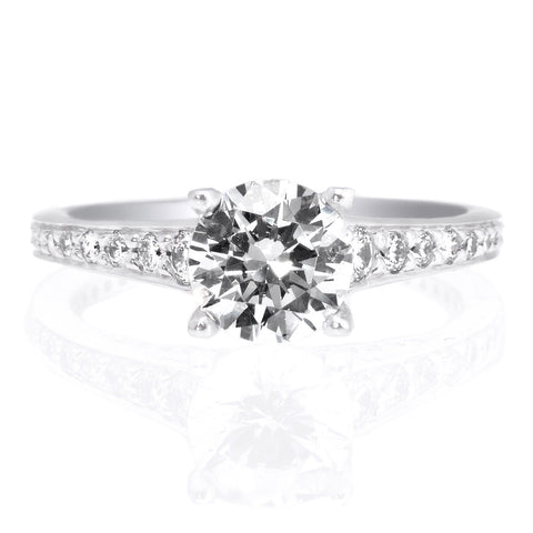 18K White Gold Modern Graduated Diamond Engagement Ring
