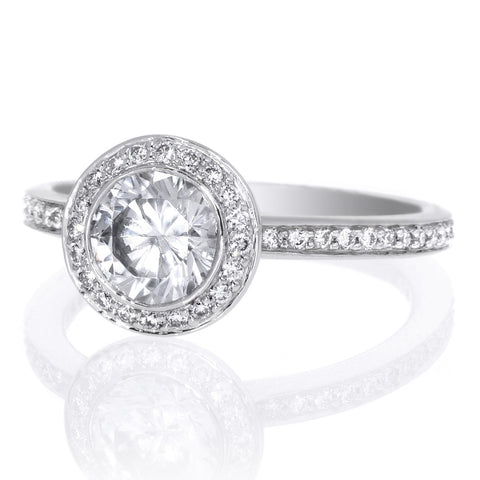Platinum Endless Love Round Brilliant Halo Micropave Diamond Band Engagement Ring