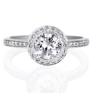 Platinum Endless Love Brilliant Halo Micro-Pave Engagement Ring Setting