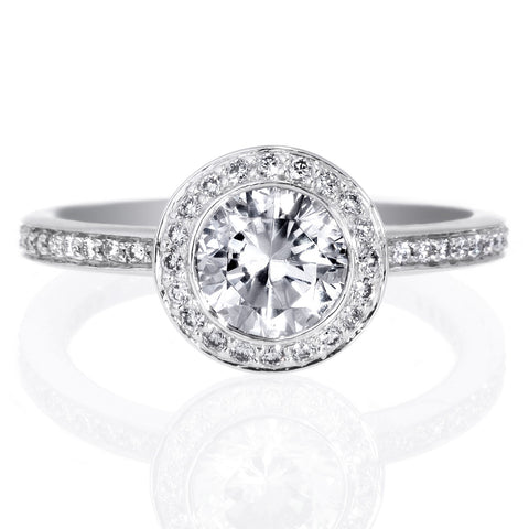 Platinum Endless Love Brilliant Halo Micro-Pave Engagement Ring