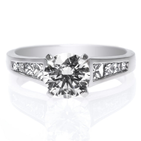 18K White Gold & Platinum Diamond Solitaire Engagement Ring