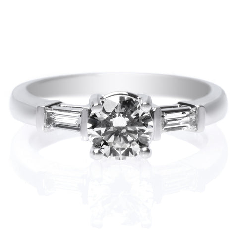 18K White Gold Classic Shared Prong Diamond Band Engagement Ring