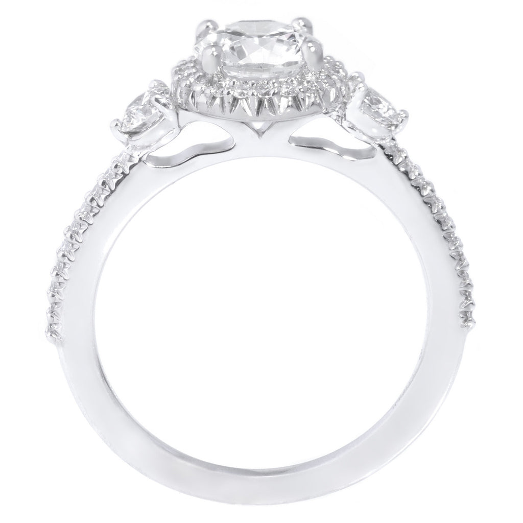 Platinum Three Stone Halo Diamond Band Engagement Ring