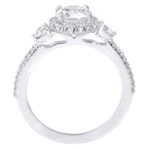 Platinum Three-Stone Halo Engagement Ring