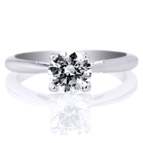 18K White Gold Solitaire Embellished Prong Engagement Ring