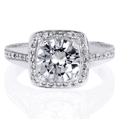 18K White Gold Masterwork Cushion Halo Vaulted Milgrain Engagement Ring with Surprise Diamonds