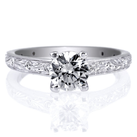 18K White Gold Romantique Grecian Leaf Diamond Band Engagement Ring with Surprise Diamonds