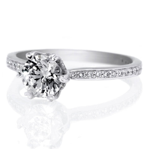 18K White Gold Beadset Solitaire Six-Prong Micropave Diamond Band Engagement Ring