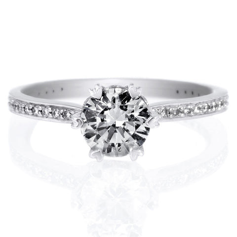 18K White Gold Bead-Set Solitaire Six-Prong Micro-Pave Engagement Ring