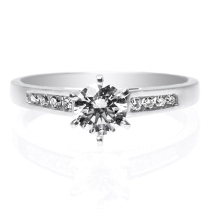 14K White Gold Six Prong Channel Set Diamond Engagement Ring