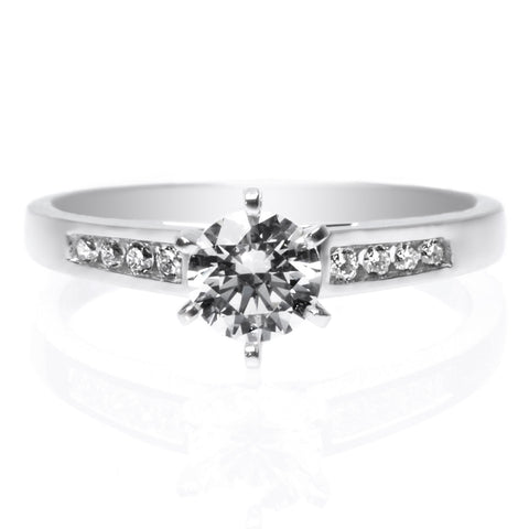 18K White Gold Engraved Gallery Halo Engagement Ring