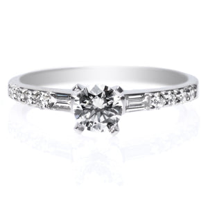 18K White Gold Baguette and Round Cut Diamond Engagement Ring