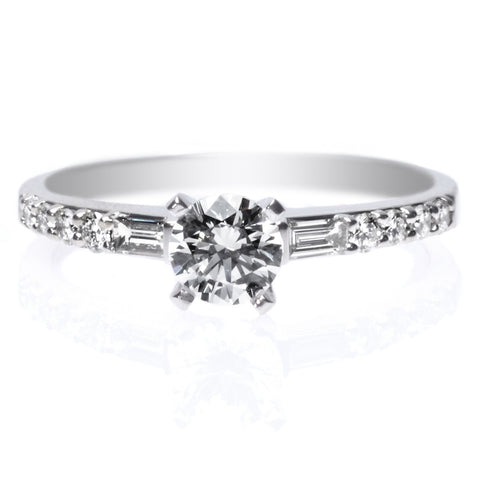 18K White Gold Solitaire Diamond Six-Prong Knife-Edge Engagement Ring