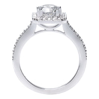18K White Gold Square Halo Engagement Ring Setting