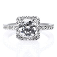 18K White Gold Square Diamond Halo Engagement Ring