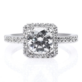 Platinum Three-Stone Halo Bezel-Set Engagement Ring