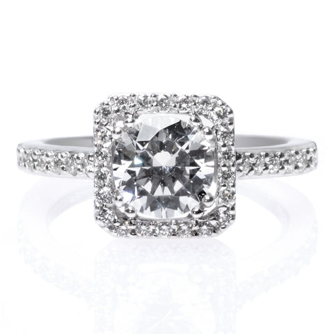Classic Princess Cut Diamond Halo Engagement Ring