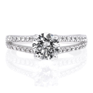 "18K White Gold Classic Double French-Set ""V"" Engagement Ring with Surprise Diamonds"