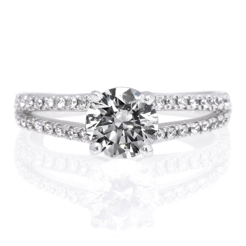 "18K White Gold Classic Double French-Set Diamond ""V"" Engagement Ring with Surprise Diamonds"