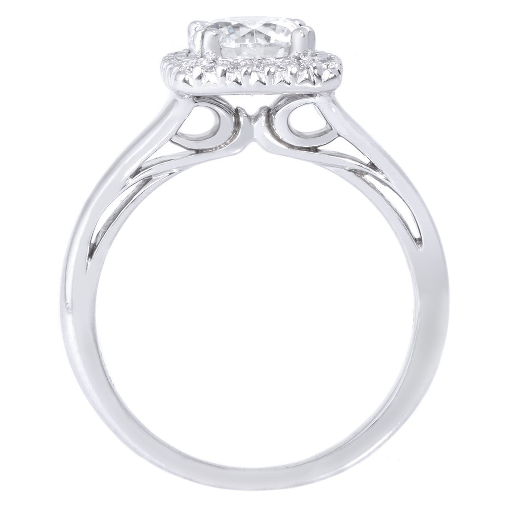 18K White Gold Cushion French-Set Halo Engagement Ring