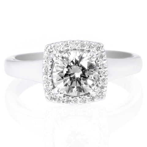 18K White Gold Solitaire Diamond Engagement Ring with Pave Tulip Detail