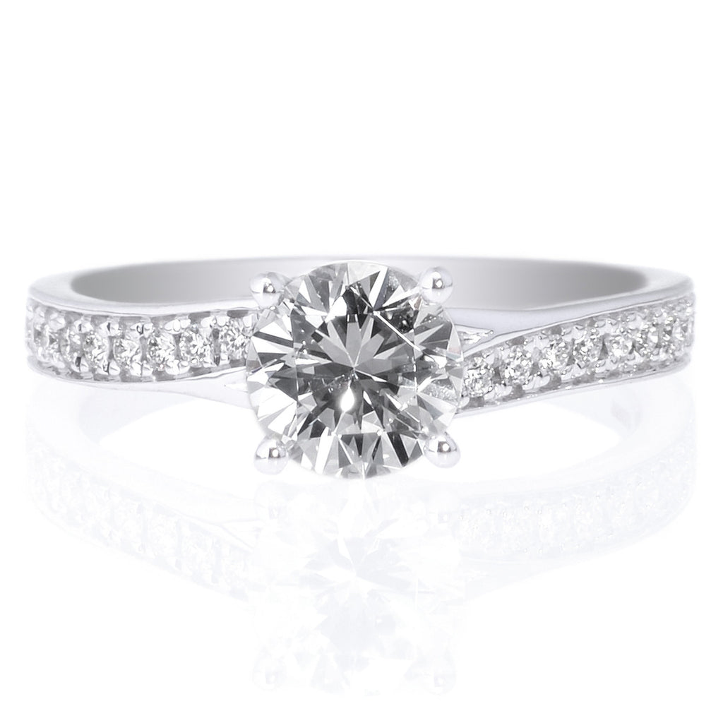 18K White Gold Cushion French-Set Halo Diamond Engagement Ring