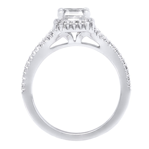 18K White Gold French-Set Split Asscher Halo 'V' Band Engagement Ring