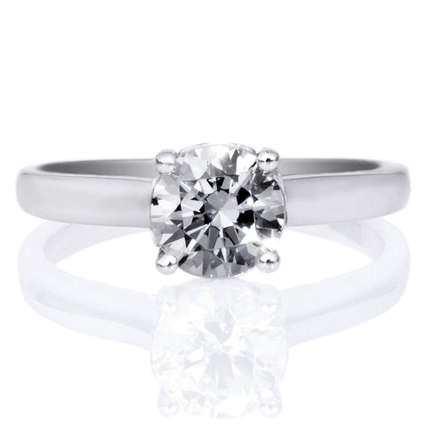18K White Gold Classic Solitaire Engagement Ring with Surprise Diamonds
