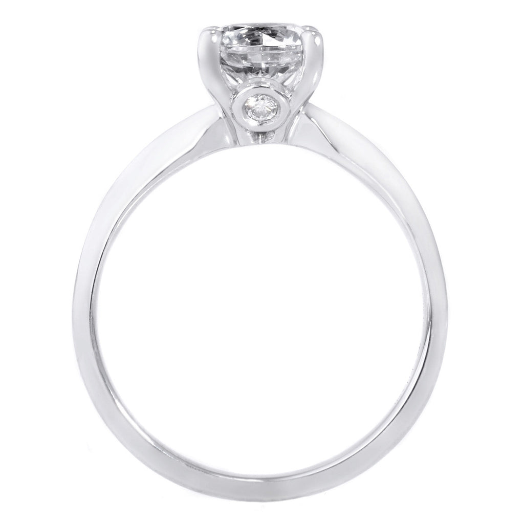 18K White Gold Solitaire Diamond Knife-Edge Engagement Ring with Surprise Diamonds