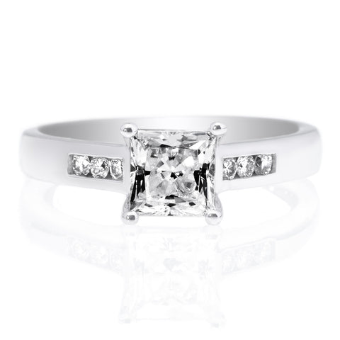 18K White Gold Solitaire Channel-Set Diamond Band Engagement Ring