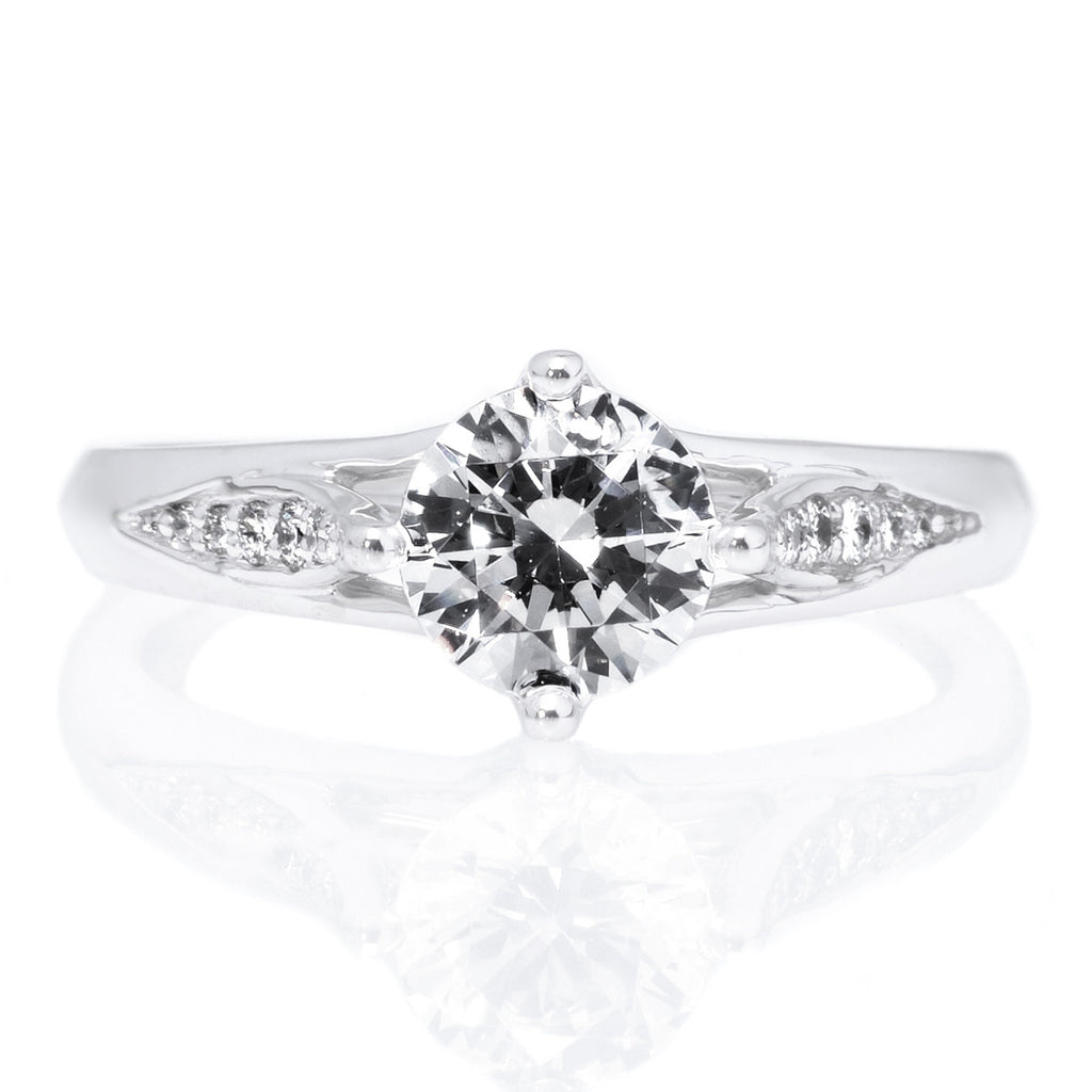 18K White Gold Vintage Tulip Diamond Band Engagement Ring