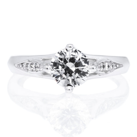 18K White Gold Vintage Tulip Engagement Ring
