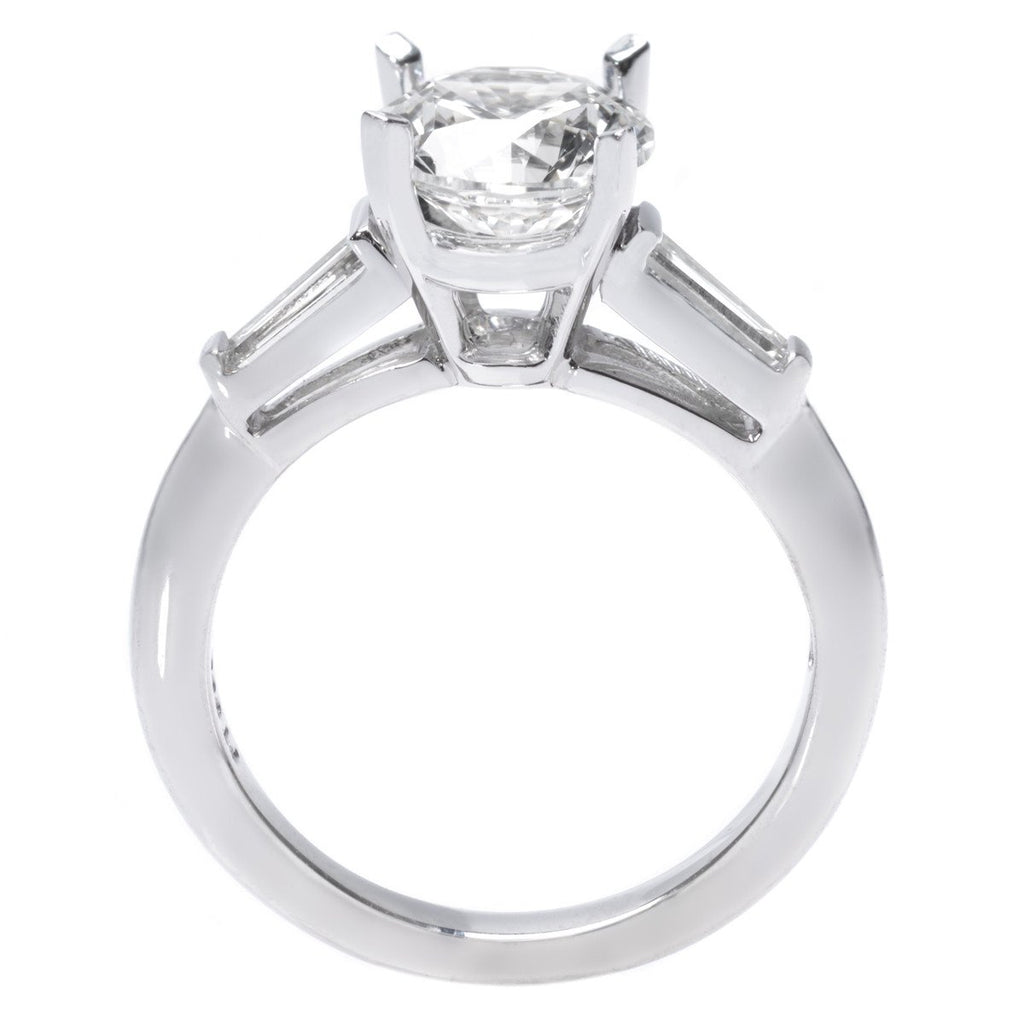 Platinum Solitaire Engagement Ring with Tapered Baguettes