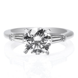 18K White Gold Solitaire Four-Prong Tulip Cathedral Engagement Ring