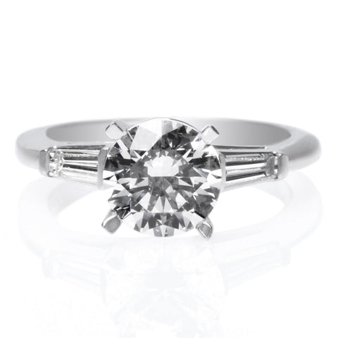 18K White Gold Two-Row Split Shank Engagement Ring