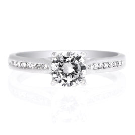 Platinum Square Halo French-Set Engagement Ring