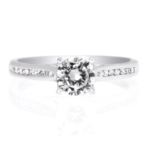 18K White Gold Channel-Set Engagement Ring with Surprise Diamonds