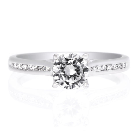18K White Gold Channel-Set Diamond Engagement Ring with Surprise Diamonds