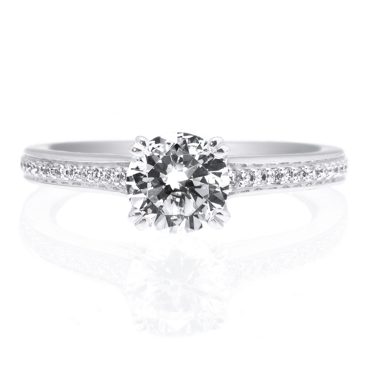 18K White Gold Micro-Pave Engagement Ring Setting with Surprise Diamonds
