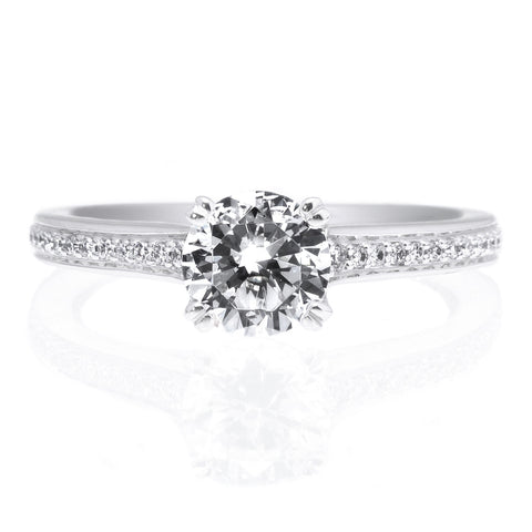 18K White Gold Micro-Pave Engagement Ring with Surprise Diamonds