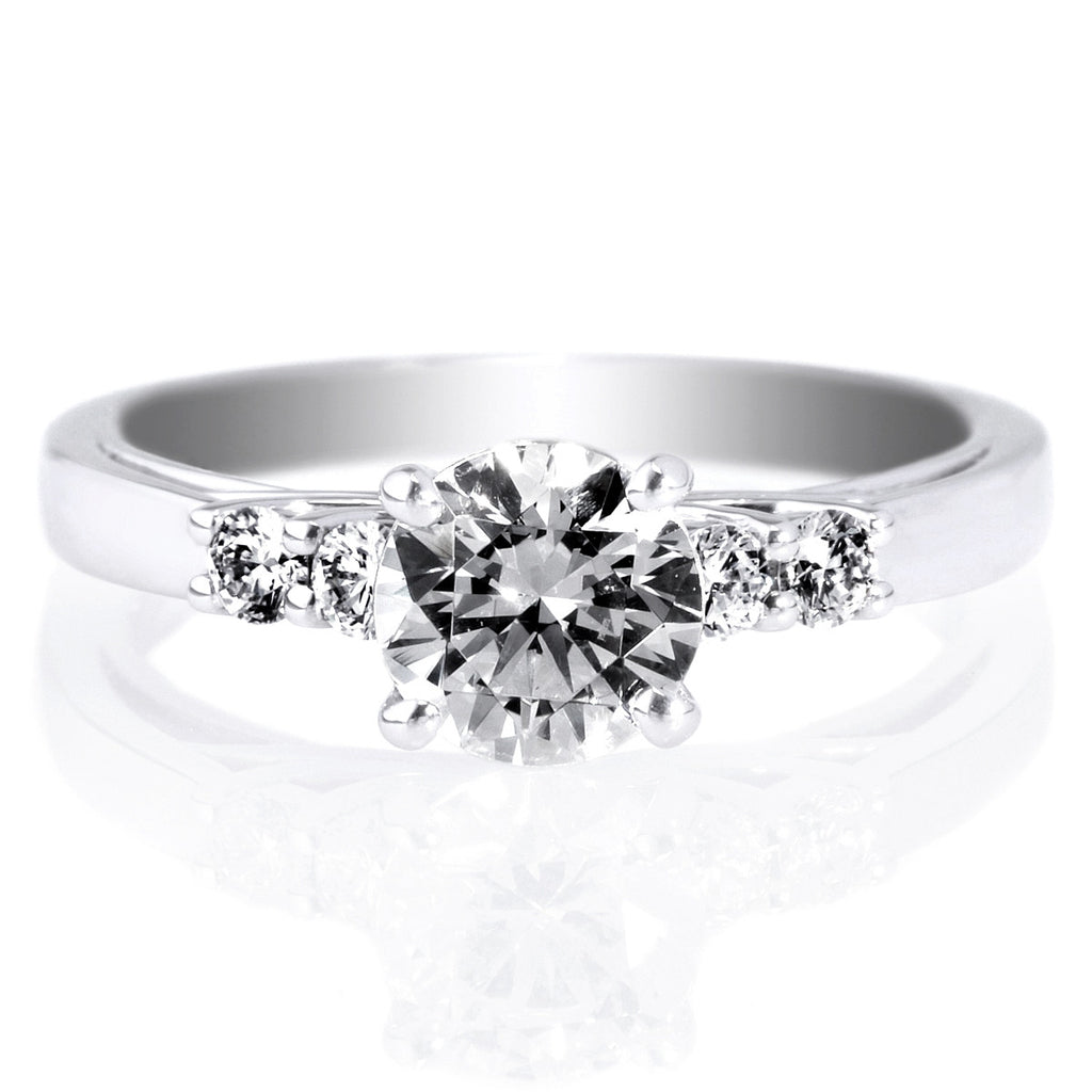 18K White Gold Trellis 5-Stone Diamond Engagement Ring