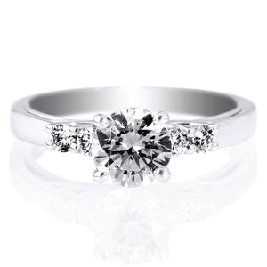 18K White Gold Trellis Five-Stone Engagement Ring Setting