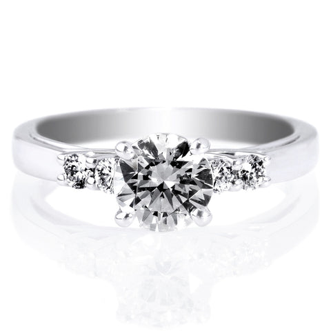 18K White Gold Trellis Five-Stone Engagement Ring