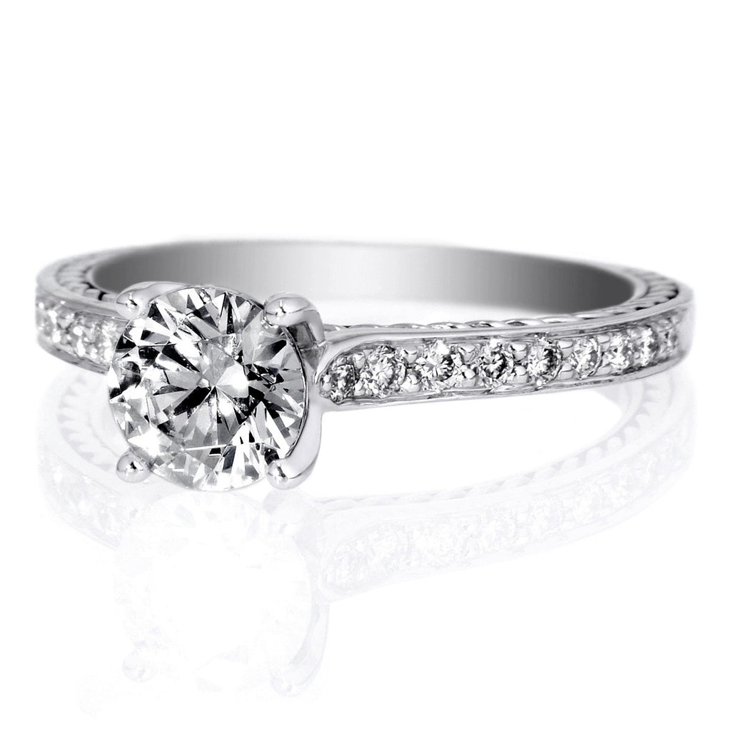 18k White Gold Anadare Solitaire Micropave Braided Diamond Band Engagement  Ring