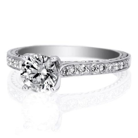 18K White Gold Anadare Solitaire Micro-Pave Braided Engagement Ring
