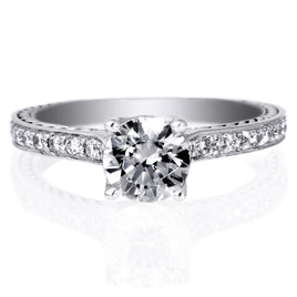 18K White Gold French-Set Engagement Ring with Surprise Diamonds