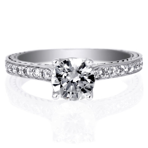 18K White Gold Solitaire Channel-Set Engagement Ring
