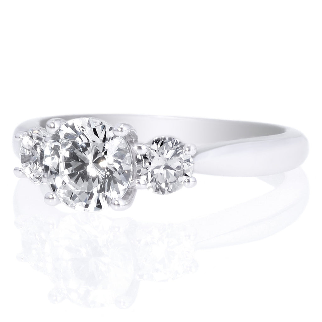 18K White Gold Three-Stone Diamond Engagement Ring