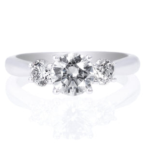 18K White Gold Solitaire Diamond Modern French-Set Band Engagement Ring